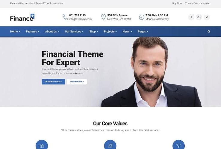 FinancePlus - 33+ BEST WordPress Financial Themes [year]