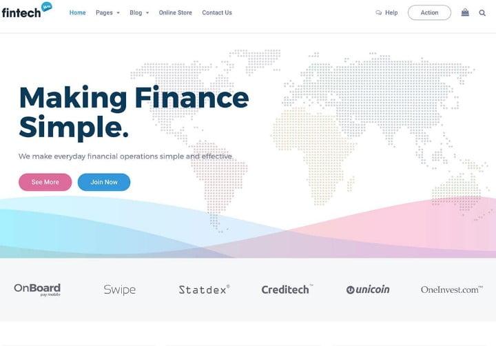 Fintech-WP - 29+ GREAT Startups WordPress Themes [year]