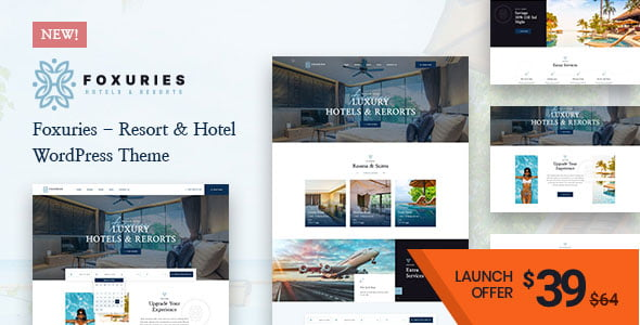 Foxuries - 25+ GREAT Free WordPress Hotel Themes [year]