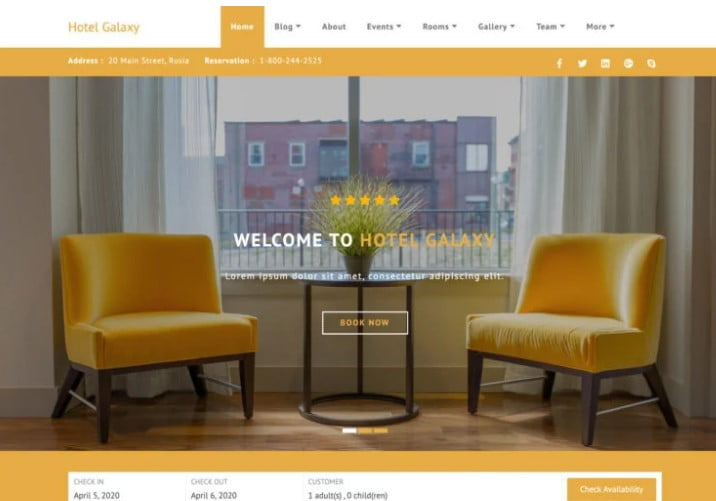Hotel-Galaxy - 25+ GREAT Free WordPress Hotel Themes [year]