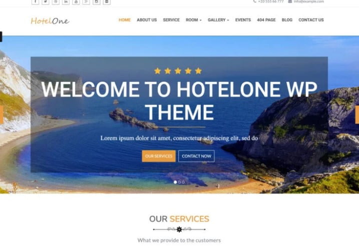 Hotelone - 25+ GREAT Free WordPress Hotel Themes [year]