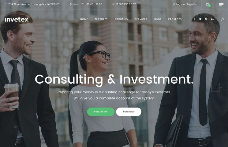 Invetex - 33+ TOP WordPress Consulting Themes [year]
