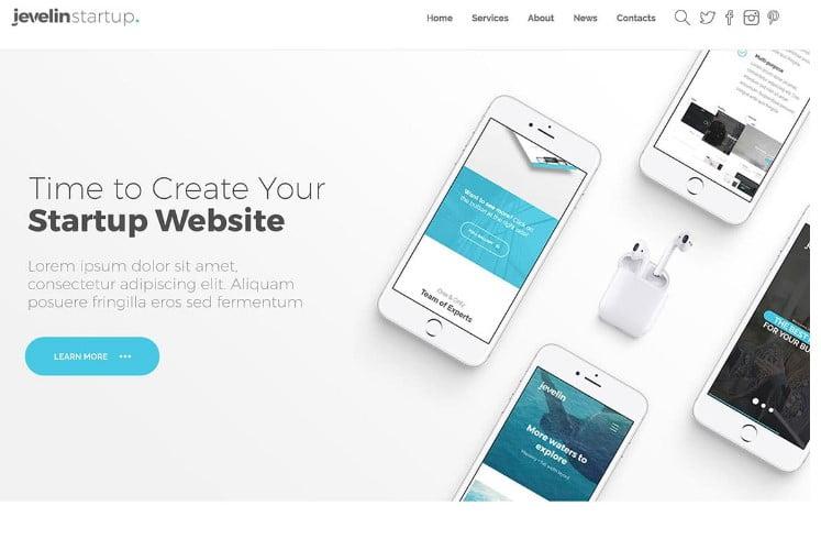 Jevelin - 29+ GREAT Startups WordPress Themes [year]
