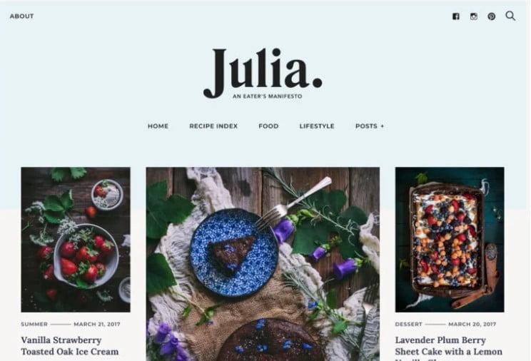 Julia - 41+ AMAZING WordPress Food Themes For Recipes [year]