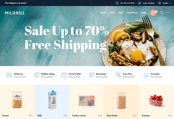 Mildhill - 33+ TOP Food & Drink WordPress E-Commerce Themes [year]