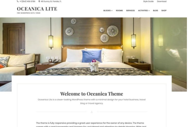 Oceanica-Lite - 25+ GREAT Free WordPress Hotel Themes [year]