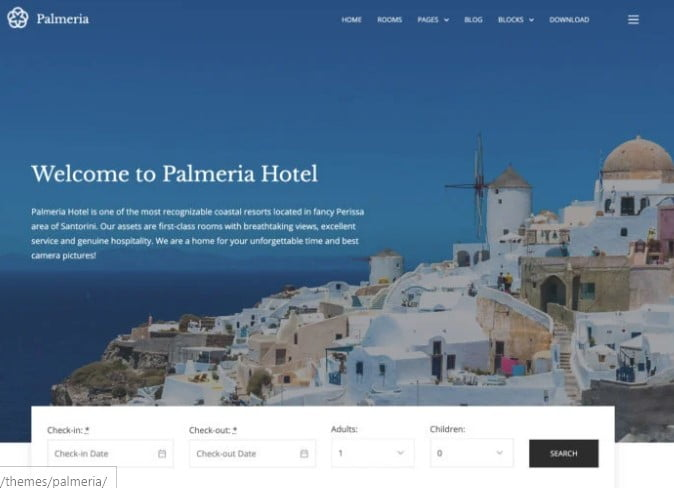 Palmeria - 25+ GREAT Free WordPress Hotel Themes [year]