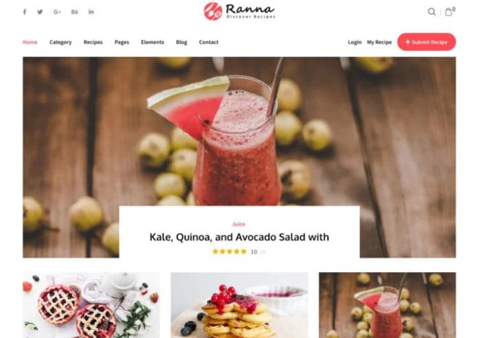Ranna - 41+ AMAZING WordPress Food Themes For Recipes [year]