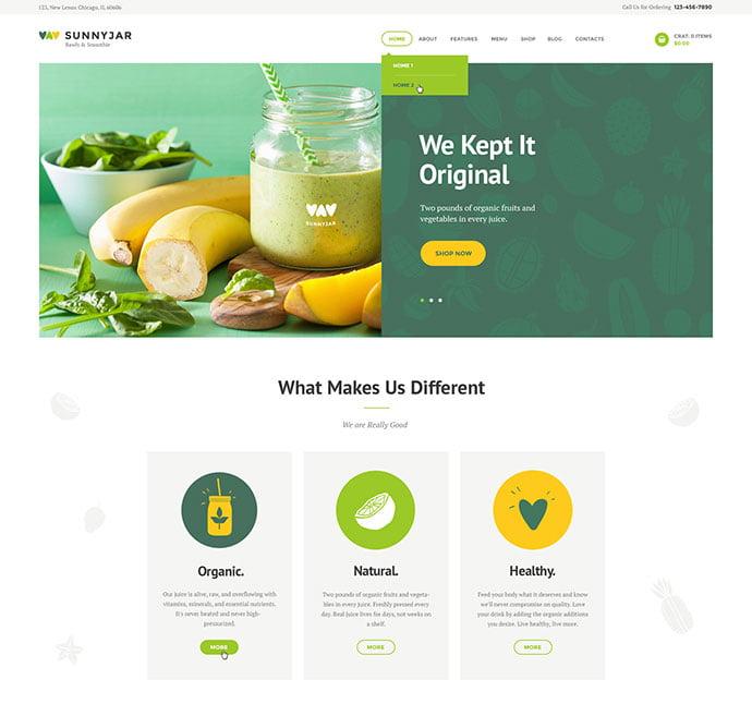SunnyJar - 33+ TOP Food & Drink WordPress E-Commerce Themes [year]