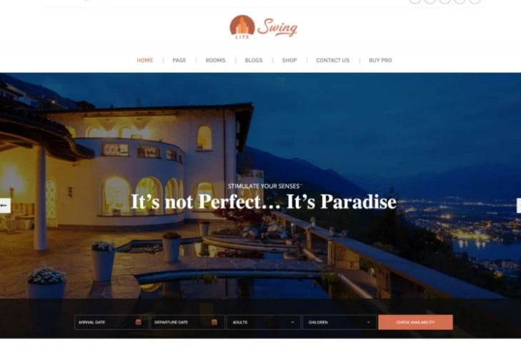 Swing-Lite - 25+ GREAT Free WordPress Hotel Themes [year]