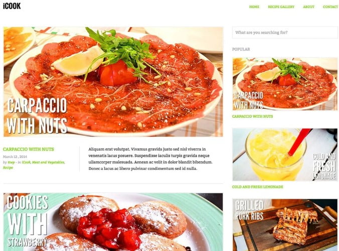 iCook - 41+ AMAZING WordPress Food Themes For Recipes [year]