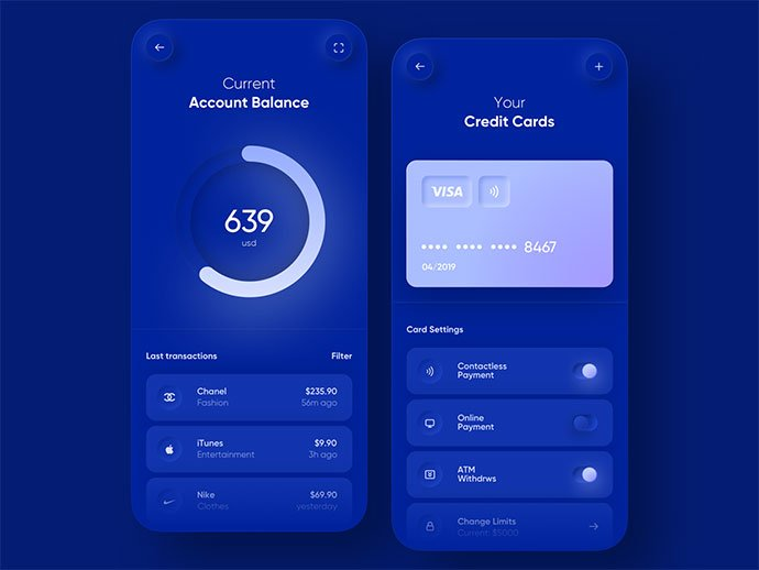Banking-App - 43+ GREAT Free Neumorphic Mobile App Design IDEA [year]