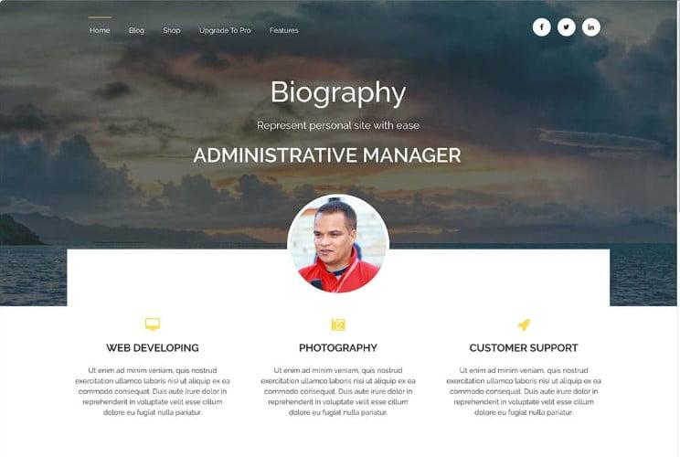 Biography - 39+ BEST FREE WordPress Portfolio Themes [year]