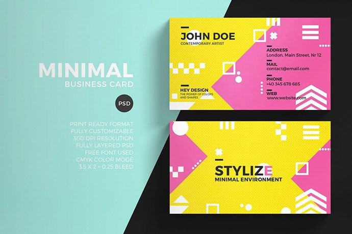 Colorful-Minimal - 53+ TOP PSD Business Card Designs [year]