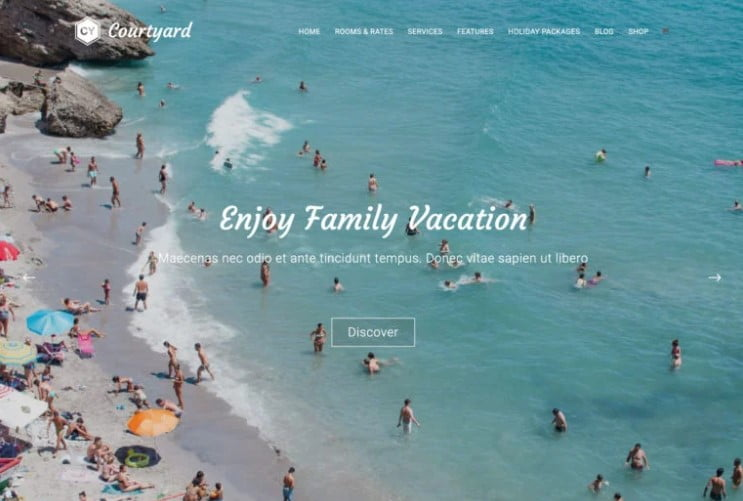 Courtyard - 33+ BEST FREE WordPress Travel Themes [year]