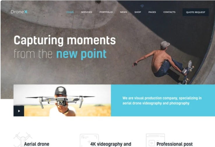 DroneX - 36+ GREAT Videographers WordPress Themes [year]