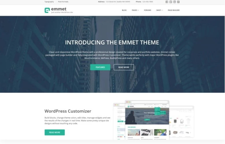Emmet - 36+ BEST WordPress Insurance Themes [year]