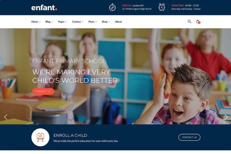 Enfant - 33+ TOP WordPress Kindergarten Themes [year]