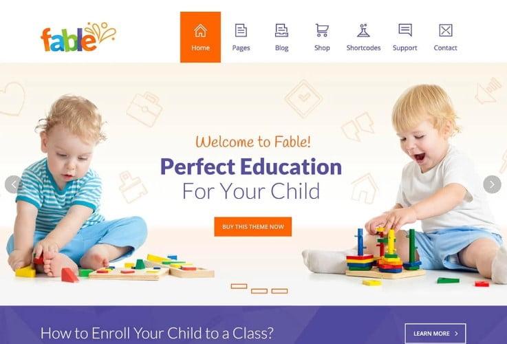Fable - 33+ TOP WordPress Kindergarten Themes [year]