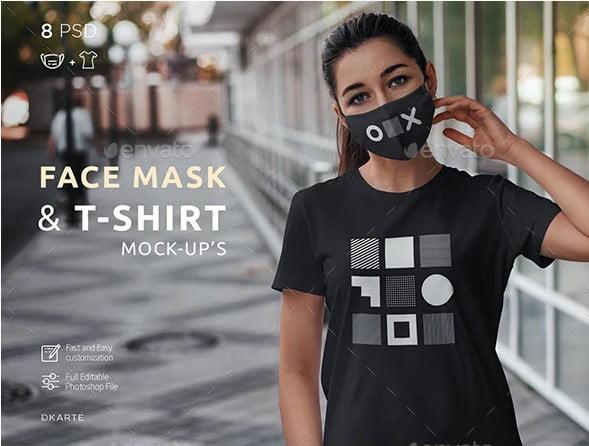Face-Mask-T-Shirt-Mock-Up - 33+ NICE Face Mockup PSD Templates [year]