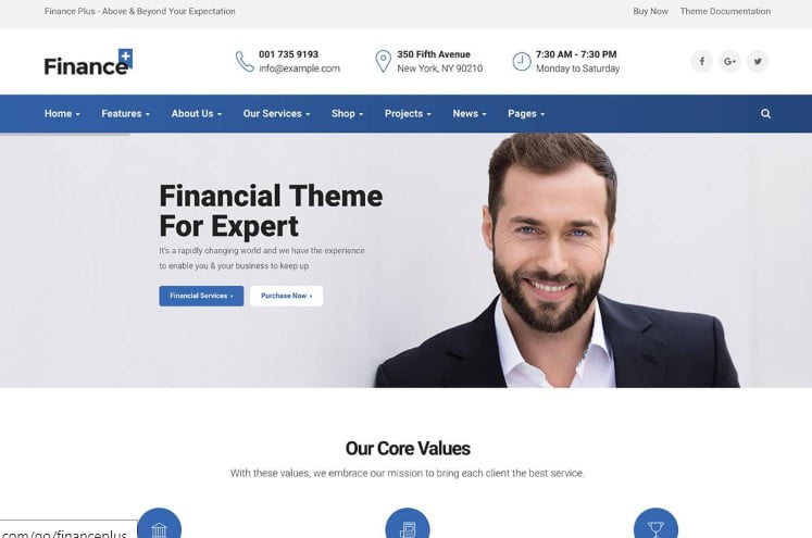 FinancePlus - 36+ BEST WordPress Insurance Themes [year]