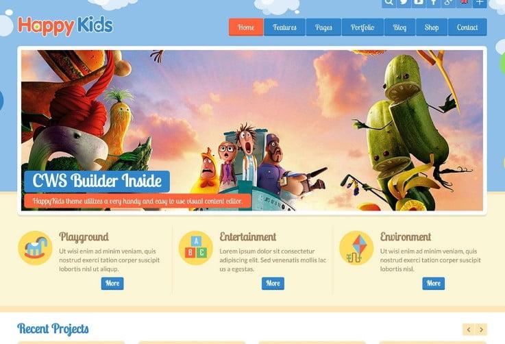 Happy-Kids - 33+ TOP WordPress Kindergarten Themes [year]