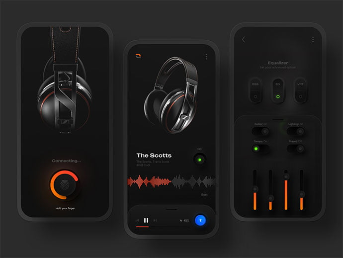 Headphone-Controller-App - 43+ GREAT Free Neumorphic Mobile App Design IDEA [year]