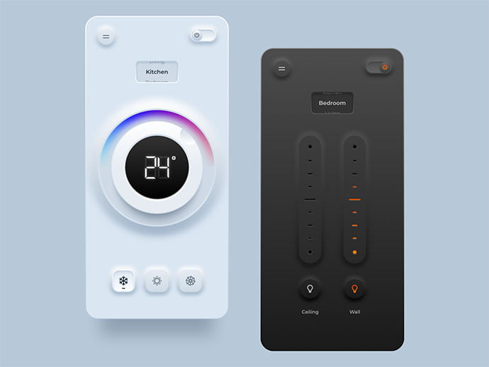 Home-Automation-Remote-Control - 43+ GREAT Free Neumorphic Mobile App Design IDEA [year]