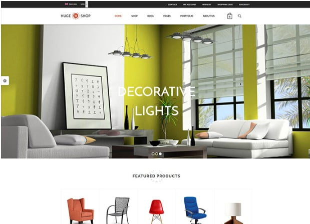 HugeShop - 40+ NICE WordPress Furniture & Interior Ecommerce Themes [year]