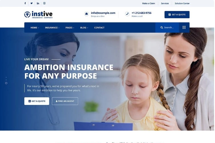 Instive - 36+ BEST WordPress Insurance Themes [year]