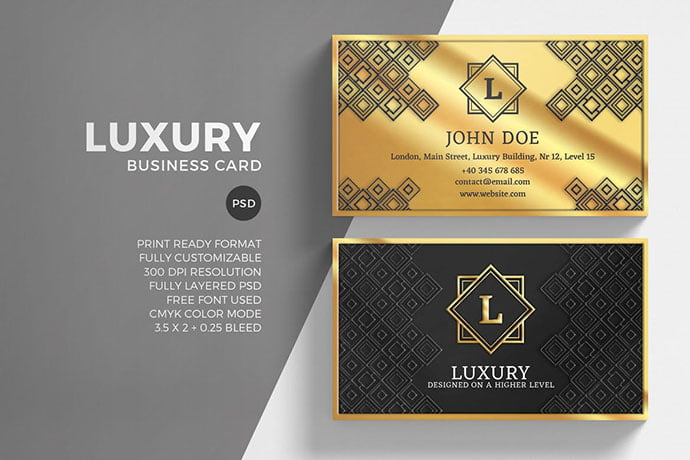 Luxury-Golden - 53+ TOP PSD Business Card Designs [year]