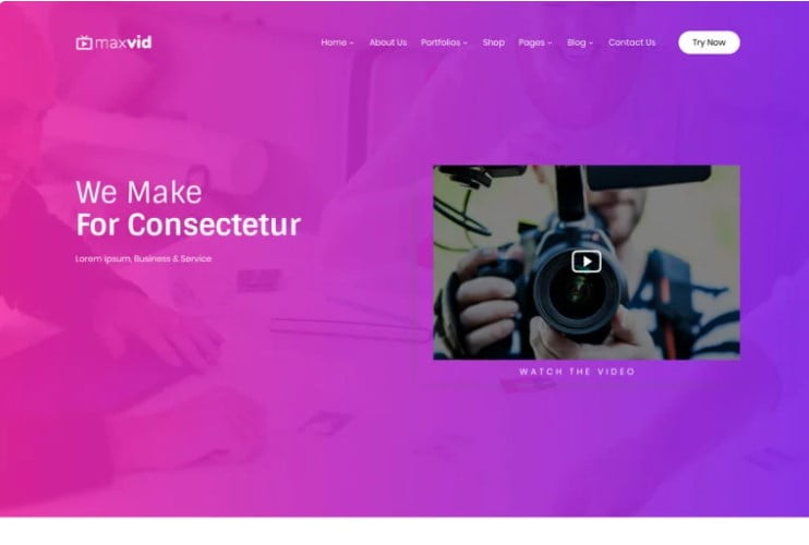 MaxVid - 36+ GREAT Videographers WordPress Themes [year]