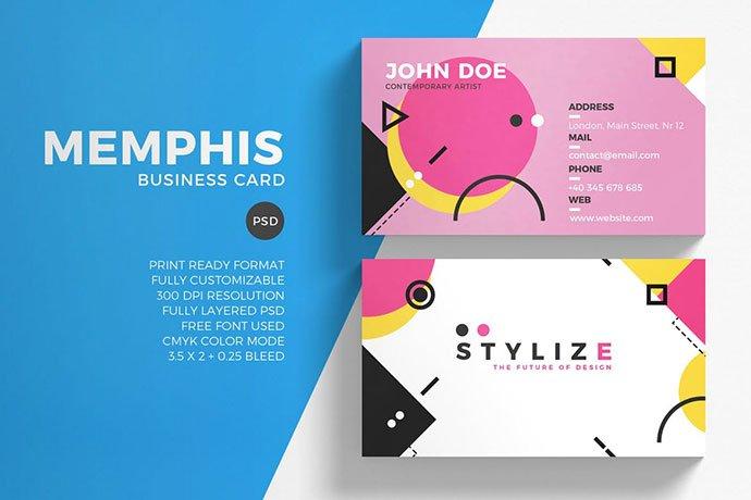 Memphis - 53+ TOP PSD Business Card Designs [year]