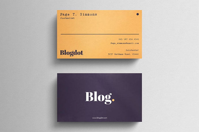 Minimal-Blogger - 53+ TOP PSD Business Card Designs [year]