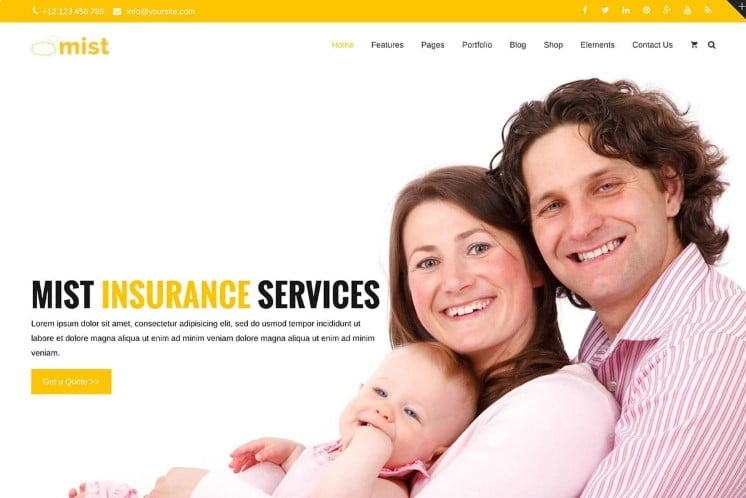 Mist - 36+ BEST WordPress Insurance Themes [year]