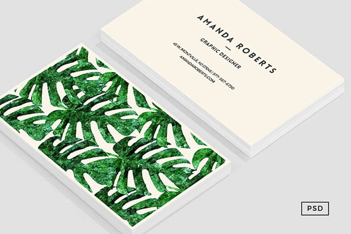 Monstera-Pattern - 53+ TOP PSD Business Card Designs [year]