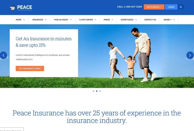 Peace - 36+ BEST WordPress Insurance Themes [year]