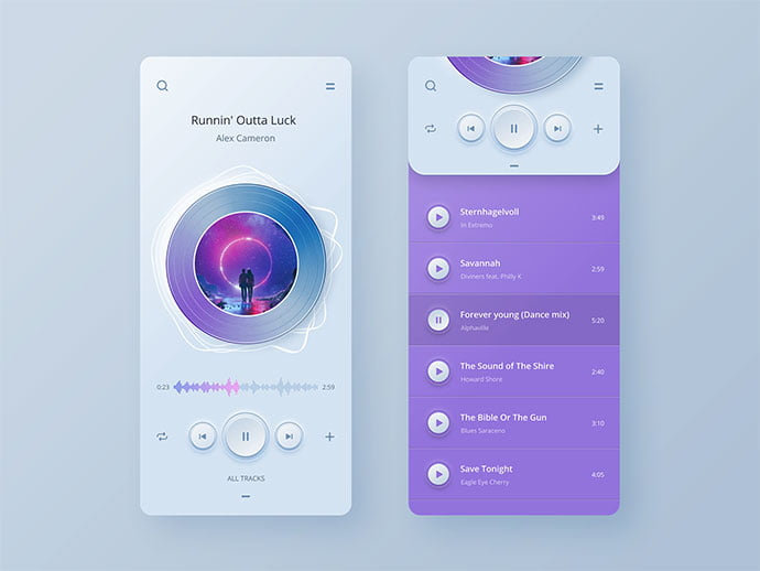 Player-App-Ui-Concept - 43+ GREAT Free Neumorphic Mobile App Design IDEA [year]