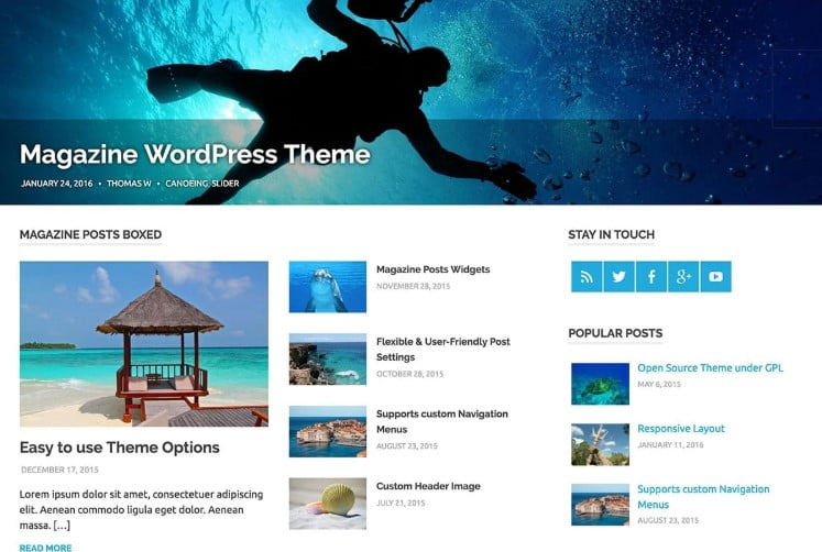 Poseidon - 33+ BEST FREE WordPress Travel Themes [year]