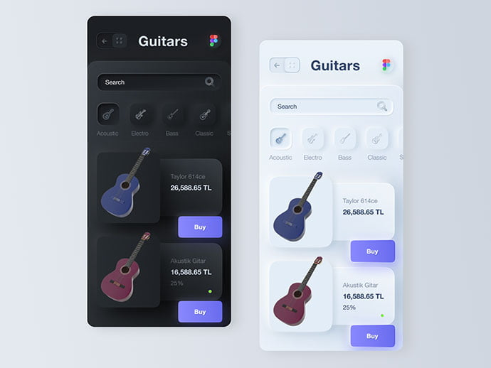Purchase-Guitar-App - 43+ GREAT Free Neumorphic Mobile App Design IDEA [year]