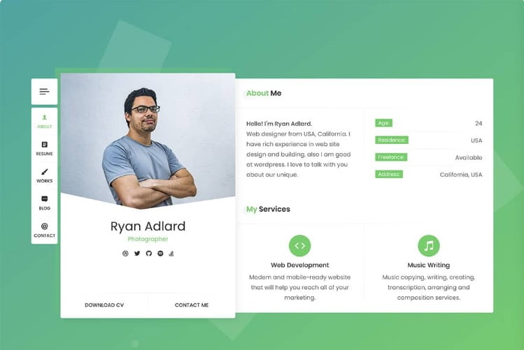 RyanCV - 37+ GREAT Freelancers WordPress Themes [year]