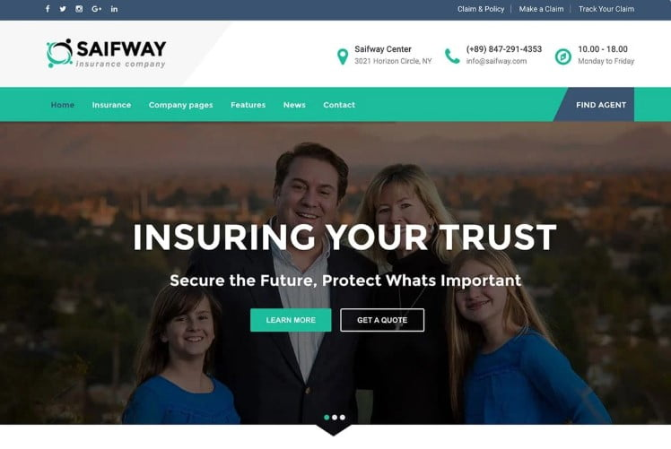 Saifway - 36+ BEST WordPress Insurance Themes [year]