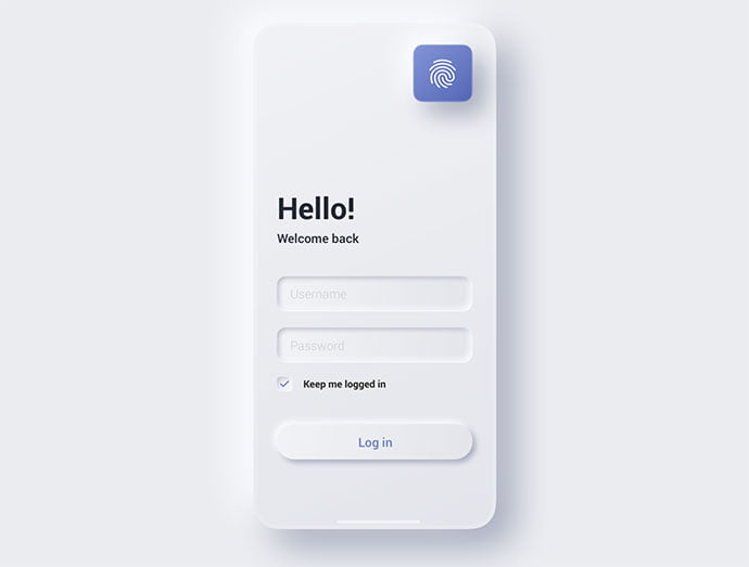 Sign-In-Mobile-Screen - 43+ GREAT Free Neumorphic Mobile App Design IDEA [year]