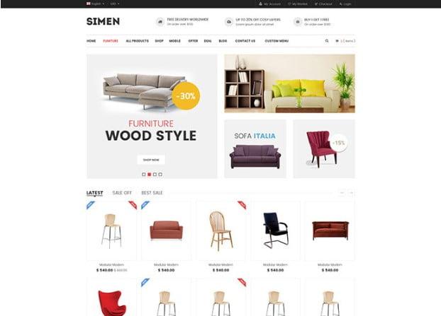 Simen - 40+ NICE WordPress Furniture & Interior Ecommerce Themes [year]
