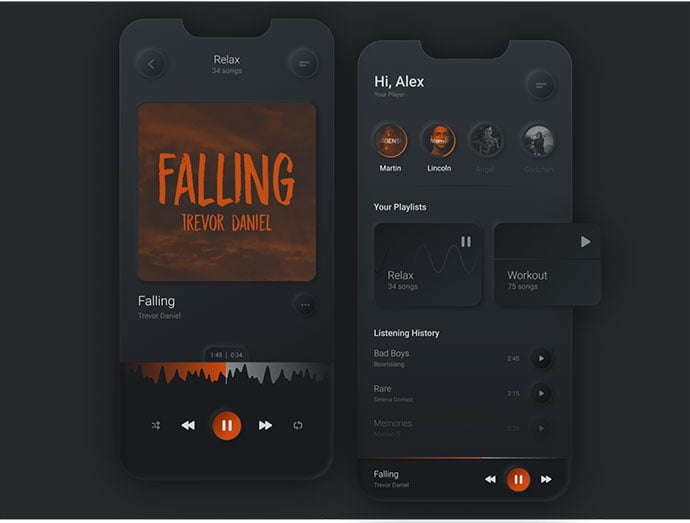 Simple-Music-Player - 43+ GREAT Free Neumorphic Mobile App Design IDEA [year]
