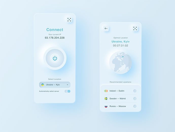 Sky-Vpn-App - 43+ GREAT Free Neumorphic Mobile App Design IDEA [year]
