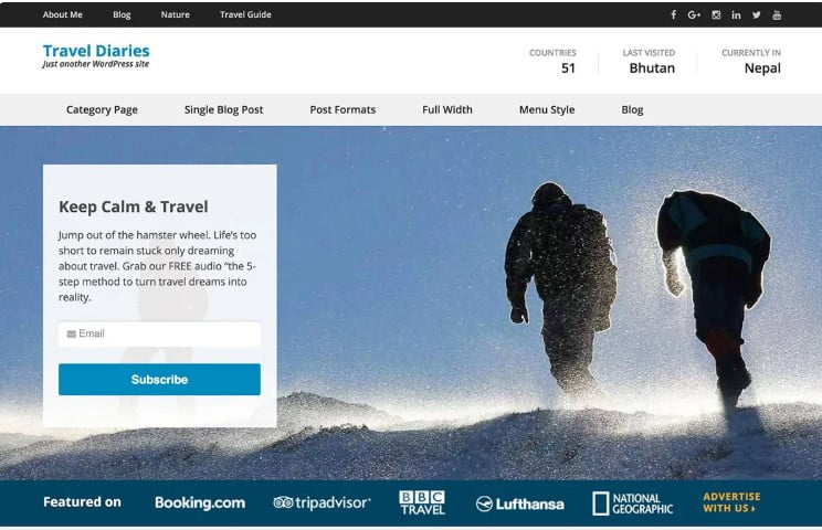 Travel-Diaries - 33+ BEST FREE WordPress Travel Themes [year]