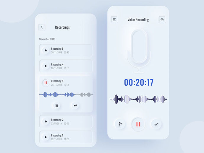 Voice-Recorder-Interface - 43+ GREAT Free Neumorphic Mobile App Design IDEA [year]
