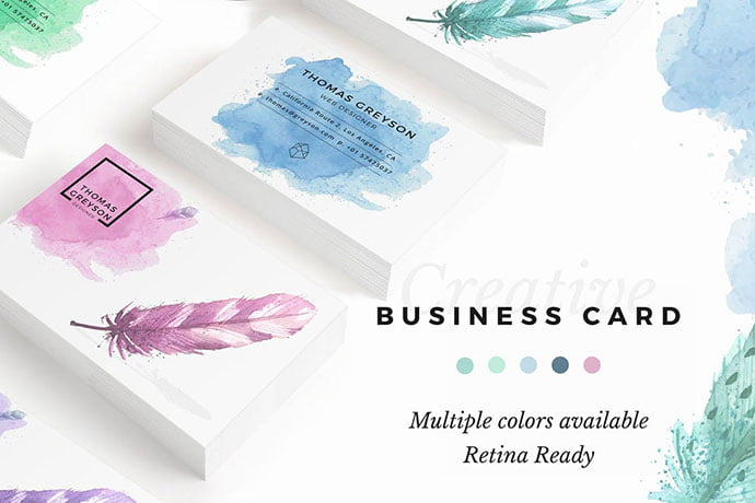 Watercolor - 53+ TOP PSD Business Card Designs [year]