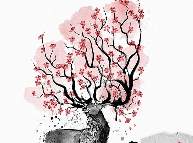 Sakura-Deer - 35+ GREAT FREE Interesting T-shirt Designs IDEA [year]